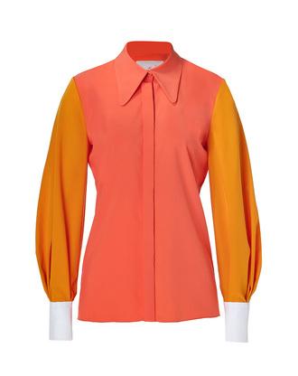 shirt salmon tela bistro dupion shirt in pomegranate/pumpkin-multi roksanda ilincic pomegranate