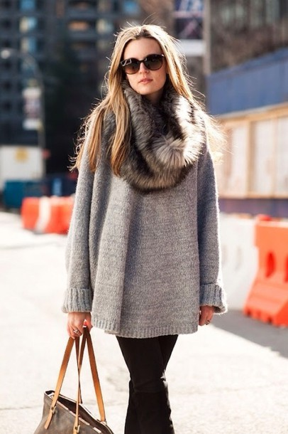 scarf fur scarf sweater winter outfits heaven brands knitted sweater knitwear celebrity style fur winter sweater gorgeous in love grey sweater grey sweater oversized sweater grey oversized sweater winter outfits
