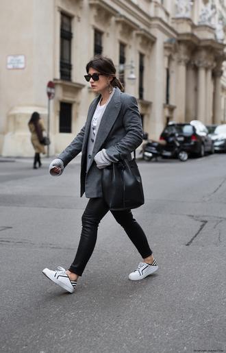 jacket leather pants tumblr blazer grey blazer pants black pants sneakers white sneakers low top sneakers bag black bag sunglasses