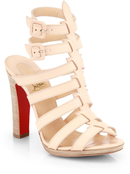 Christian louboutin neronna leather sandals in beige (natural)