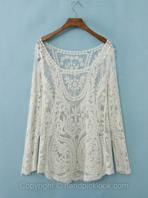 White Long Sleeve Hollow Lace T-Shirt - HandpickLook.com