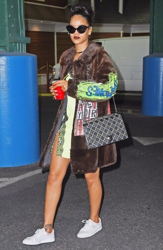 sneakers rihanna fur fur coat dress