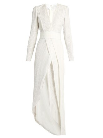 gown pleated white dress