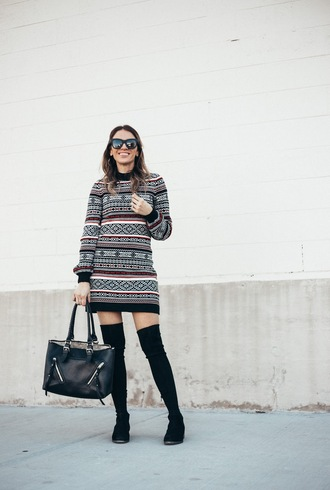 eatpraywearlove blogger dress shoes bag sunglasses thigh high boots boots winter outfits over the knee boots