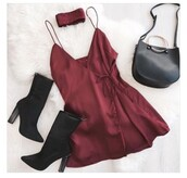 dress,silk dress,maroon/burgundy,red dress,night