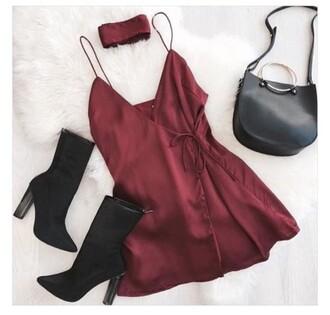 dress silk dress maroon/burgundy red dress night