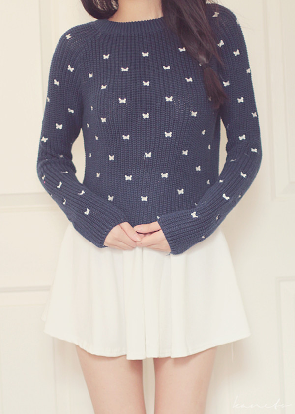sweater kawaii navy bows white bows white white skirt skirt