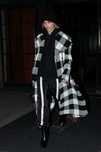 coat pants hailey baldwin model off-duty beanie fall outfits