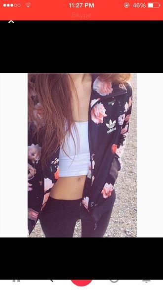 jacket floral adidas black flowers soft grunge