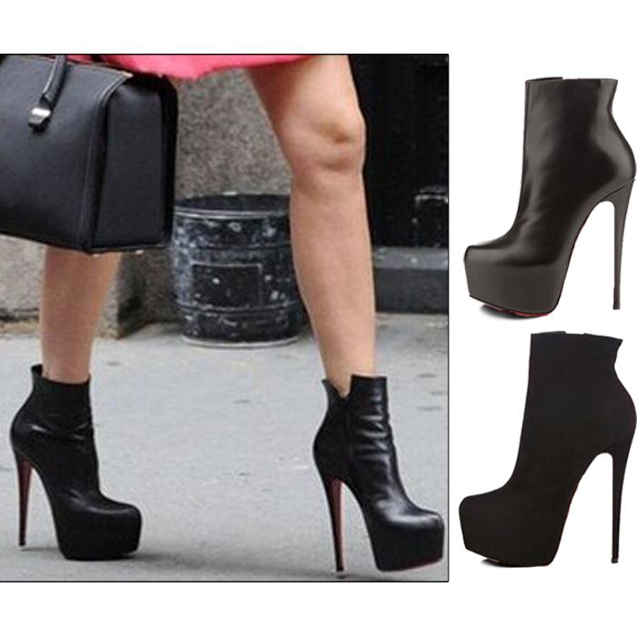 Chaussures Femmes À Suède Feminino 43 Plus Semelle Taille En Mode Cuir Talons Hiver Bottes Hauts Pu 2015 Rouge Cheville Botas QrtCshdx