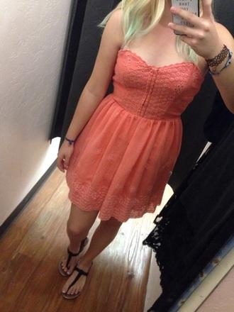 dress coral dress salmon pink summer dress