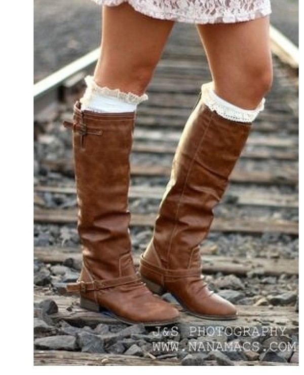 Tan Riding Boots Back Zipper Buckle Strap Rustic Brown Knee High ...