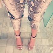 pants,high heels,snake print pants,snake skin print,beige high heels