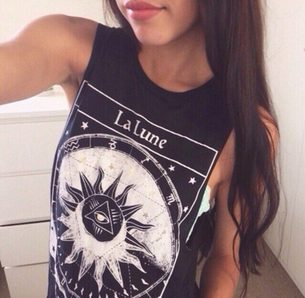 tank top la lune la lune shirt la lune tee the moon punk rock sun