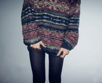 sweater knitwear jumper aztec indie streetwear girl knitted sweater knitted jumper grunge indie sweater grunge sweater pattern tumblr girl wantitnow loveit
