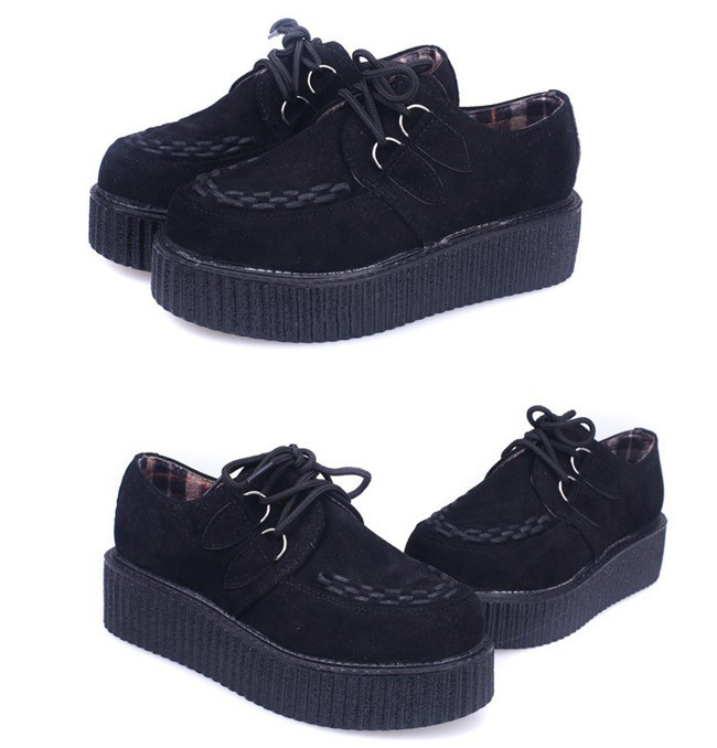 Xwk009 ikai fashion women shoes vintage creepers flat shoes camouflage zapatos mujer free shipping spring summer platform shoes
