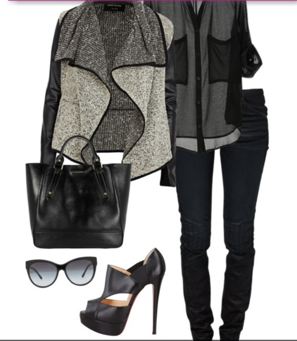 shoes shirt bag jeans blouse t-shirt coat jacket black chic leather grey grey fall outfits winter outfits summer dress pants leggings skirt top crop tops heels glasses sunglasses chiffon black jacket fashion cardigan casual grey jacket black jeans