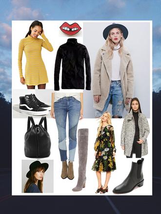 orchid grey blogger dress coat jacket shoes hat