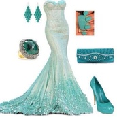 dress,light green,turquoise,mermaid