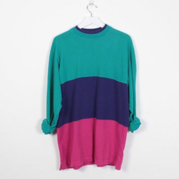 sweater stripes teal blue hot pink long sleeves oversized color-block