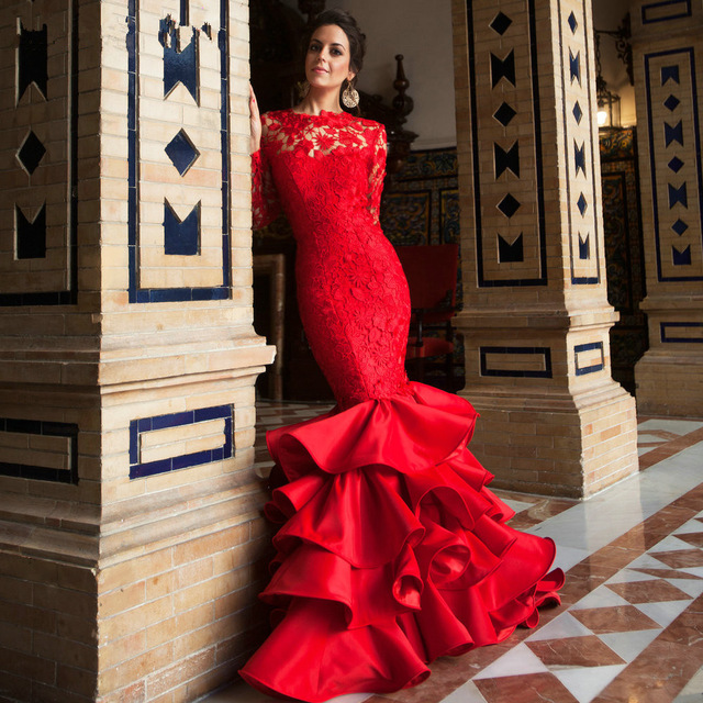 e5f458234f6 Aliexpress.com   Buy New Elegant O Neck Long Sleeve Lace Prom Dresses 2016 Sexy  Backless Red ...