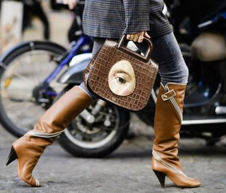 shoes purse streetstyle boots paris fashion week 2017 fall outfits