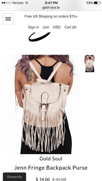 bag backpack fringed bag