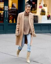 coat,camel coat,boots,nude boots,jeans,denim