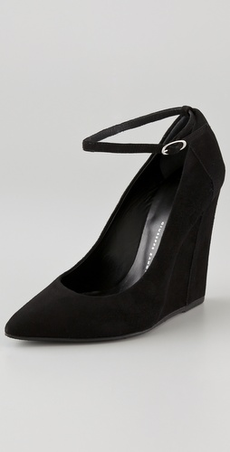 Giuseppe zanotti suede wedge pumps with ankle strap