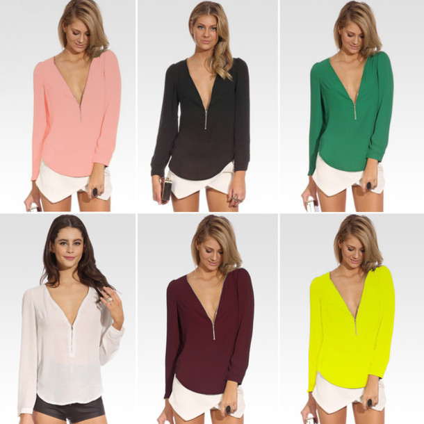 blouse top shirt black v neck green v neck t-shirt v-neck tunic zipper tunic zipper v-neck zip up top