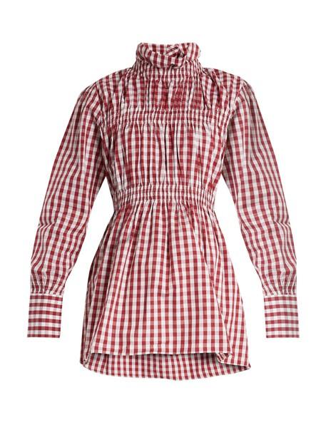 TEIJA shirt cotton gingham white burgundy top