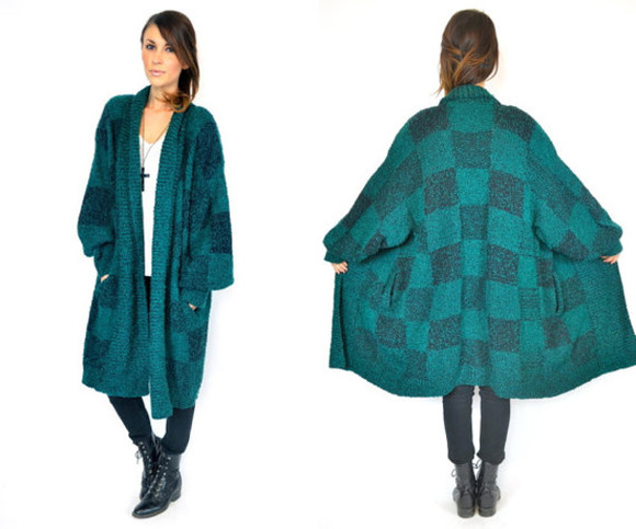 sweater wool green and black chunky jersey grandad cardigan big check cosy
