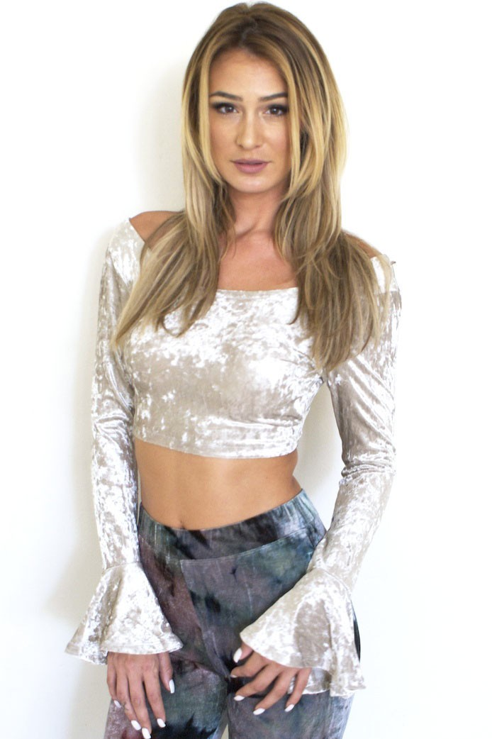 Bell Sleeved Velvet Crop Top