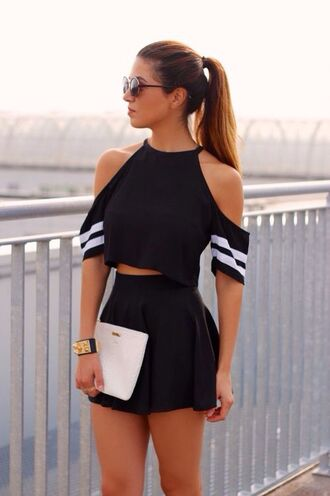 top black top beautiful black white stripes summer crop tops off the shoulder blonde hair halter neck monochrome dress two-piece black and white shorts shirt outfit weheartit