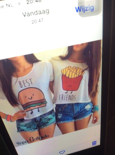 shirt white food best friends hamburger fries fashion