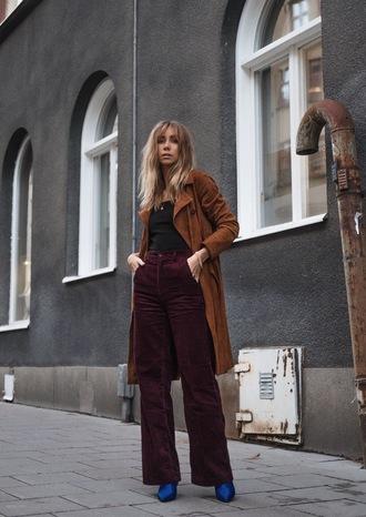 shoes tumblr blue boots pants wide-leg pants coat brown coat