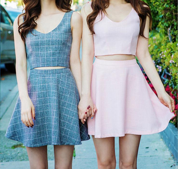 bff6f5b7b21cc8 Summer Style Girlfriend Two Piece Sets Cotton Plaid Printed Tank and Short  Skirt Sexy Crop Top ...