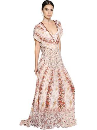 dress back open open back floral silk beige