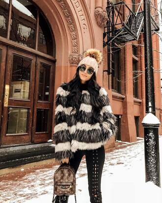 jacket tumblr stripes fur jacket faux fur jacket beanie pom pom beanie pants black pants lace up pants backpack mini backpack