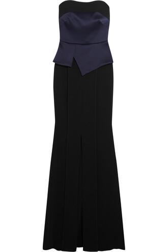gown layered satin navy dress