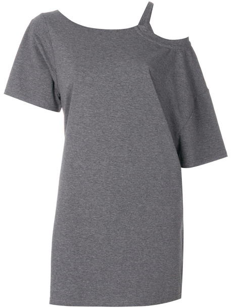 KENDALL+KYLIE dress shirt dress t-shirt dress women spandex cold cotton grey
