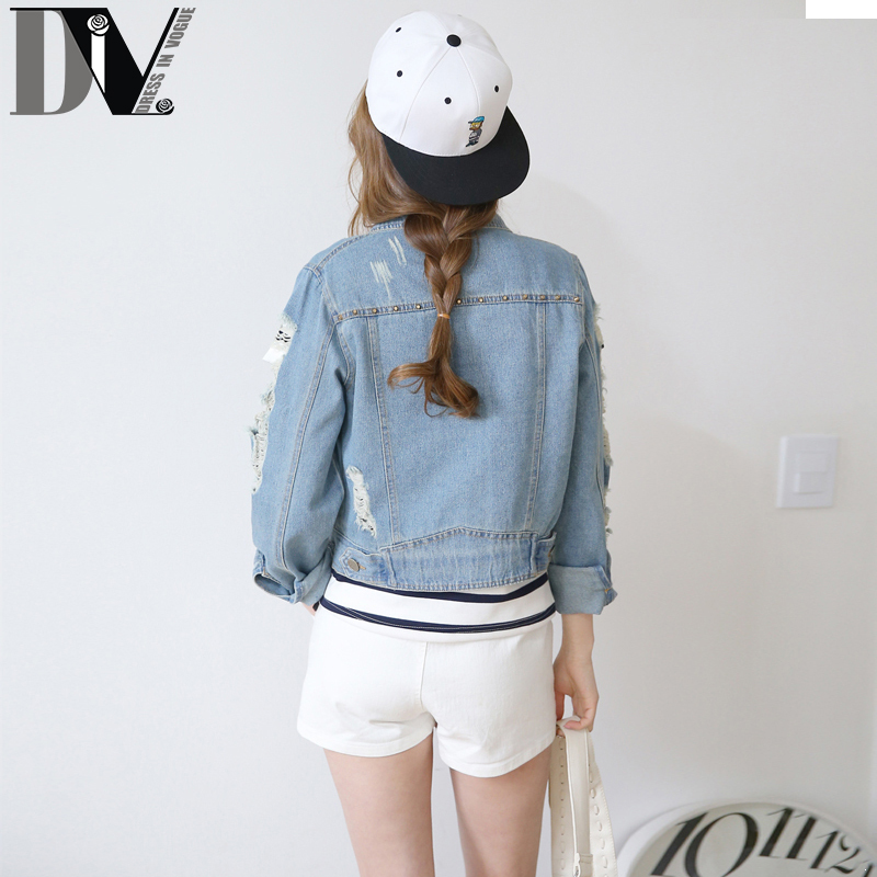 Div Street Style Denim Jackets Women Ripped Hole Design Washed Short
