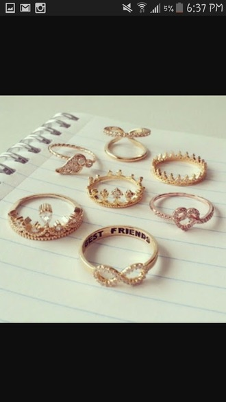 jewels jewelry ring gold bff best friends infinity ring