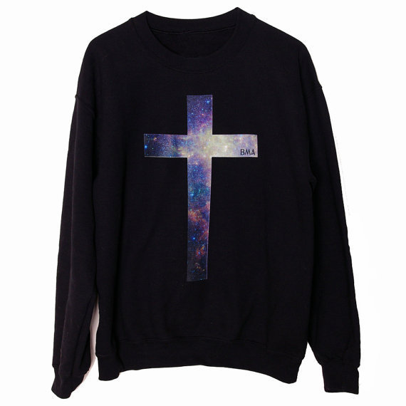 136d93ff6b6 Crew Sweater    Galaxy Cross BMA Small by BMAMOD on Etsy on ...