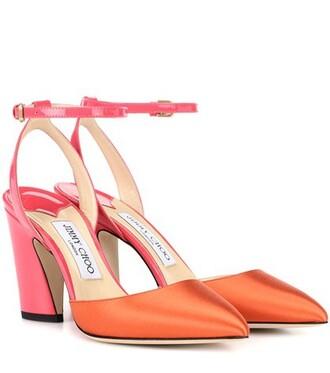 sandals satin orange shoes