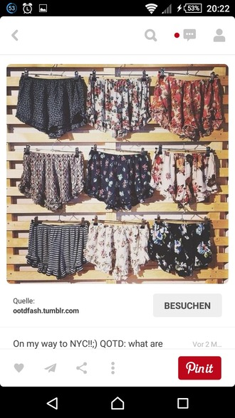 shorts brandy melville loose shorts printed shorts print