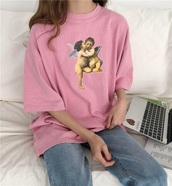 blouse,girly,pink,print,printed t-shirt,angel