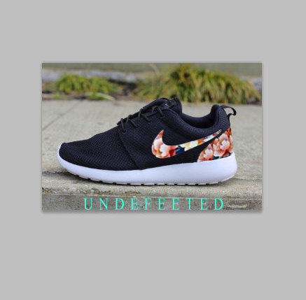 Women's floral nike roshe by undefeeted on etsy