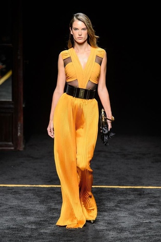 jumpsuit alessandra ambrosio fashion week 2015 mustard medium-size belt waist belt