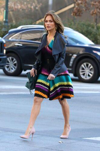 dress colorful midi dress pumps jacket jennifer lopez fall outfits celebrity
